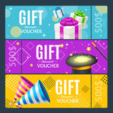 Gift Voucher Card Set Template Monetary Value Coupon. Vector. Gift Voucher Card Set Template Monetary Value Coupon with a Magic Hat and Present Box. Vector Royalty Free Stock Photo