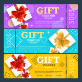 Gift Voucher Card Set Template Monetary Value Coupon. Vector. Gift Voucher Card Set Template Monetary Value Coupon with Present Box Concept of Luck and Fortune Stock Photos