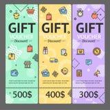 Gift Voucher Card Set Template Monetary Value Coupon. Vector. Gift Voucher Card Vertical Set Template Monetary Value Coupon Geometric Shapes in Trendy Design Stock Photography