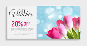 Gift Voucher Card Template with Flowers. 3D Realistic Vector Iil Stock Photography