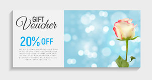 Gift Voucher Card Template with Flowers. 3D Realistic Vector Iil Royalty Free Stock Images