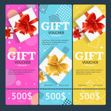 Gift Voucher Card Set Template Monetary Value Coupon. Vector Stock Image