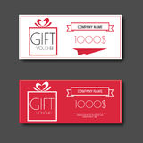 Gift voucher certificate coupon template with colorful and modern style. Stock Photo