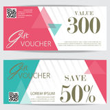 Gift voucher. Certificate coupon template, cute and modern style design for girl and woman. can be use for business shopping card, customer sale and promotion stock illustration