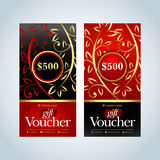 Gift Voucher, Gift certificate, Coupon template. Gold, Red and black color versions. Vector illustration. Stock Photography