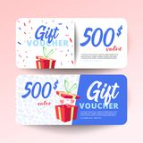 Gift voucher with clean and modern pattern vector illustration
