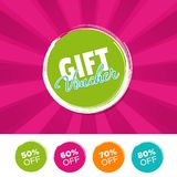 Gift Voucher color banner and 50%, 60%, 70% & 80% Off Marks. Vector illustration. Eps10 Vector Royalty Free Stock Images