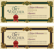 Gift Voucher Colored Royal Blue and Royal Green Royalty Free Stock Photos