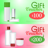 Gift Voucher Cosmetic Template. Certificate Coupon Stock Image
