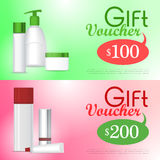 Gift Voucher Cosmetic Template. Certificate Coupon Royalty Free Stock Image