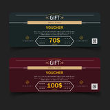 Gift Voucher Coupon Card, Green and red. Royalty Free Stock Photos