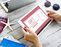 Gift Voucher Coupon Prize Concept. Woman hands Holding Digital Device Gift Voucher Coupon Prize Stock Photos