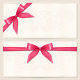 Gift Voucher / coupon template with bow (ribbons) Stock Photos