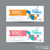 Gift voucher coupon template with colorful quadrangle pattern Stock Photography