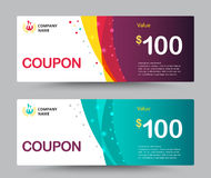 Gift voucher coupon template design. for special time, Coupon temp Royalty Free Stock Photography
