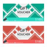 Gift voucher,Coupon template with flat design. Template, clean and modern pattern Stock Photography