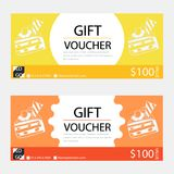 Gift voucher,Coupon template with flat design. Template, clean and modern pattern Royalty Free Stock Photos