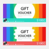 Gift voucher,Coupon template with flat design. Template, clean and modern pattern Royalty Free Stock Images