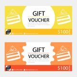 Gift voucher,Coupon template with flat design. Template, clean and modern pattern Stock Photos