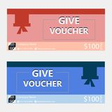 Gift voucher,Coupon template with flat design. Template, clean and modern pattern Stock Image