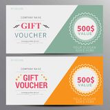 Gift voucher, coupon template. Flat design in vecto Stock Photo