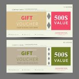 Gift voucher, coupon template, flat design. In vecto Stock Photo