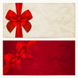 Gift Voucher / coupon template. Red bow (ribbons). Voucher template with floral pattern, border and Gift red bow (ribbons). This background design usable for Stock Image