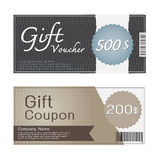Gift Voucher and Coupon Templates Design. 2 Designs of gift voucher and coupon template in grey and brown theme Royalty Free Stock Image