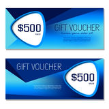 Gift voucher. Coupon and voucher template for company. Gift voucher. Vector, illustration. Coupon and voucher template. Blue Stock Photos