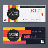 Gift Voucher Design concept Colorful for gift coupon, invitation, certificate, flyer, banner, ticket. Stock Photography