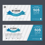 Gift Voucher Design concept for gift coupon, invitation, certificate, flyer, banner, ticket. Royalty Free Stock Photos