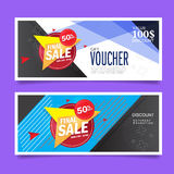 Gift Voucher Design concept for gift coupon, invitation, certificate, flyer, banner, ticket. Stock Image