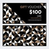 Gift Voucher Design in gold and black Stock Photos