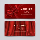 Gift voucher design template. Set of premium promotional card with realistic red bow, ribbon and silk isolated on bokeh royalty free illustration