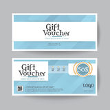 Gift voucher design vector template layout for business card gift set.blue stock illustration