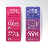 Gift voucher design vector template layout for business card gift set.blue vector illustration