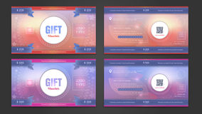 Gift voucher double side template. Stock Photos