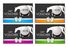 Gift voucher on equestrian equipment Stock Photo