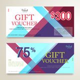Gift voucher or gift card on colorful abstract stripe Stock Image