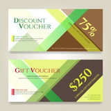 Gift voucher or gift card on colorful abstract stripe Stock Photos