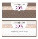 Gift Voucher (gift certificate, coupon) template. Voucher, Gift certificate, Coupon template. Background design for invitation. Vector illustration in puce Stock Image