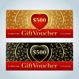 Gift Voucher, Gift certificate, Coupon template. Beige and  black color versions. Vector illustration. Royalty Free Stock Images