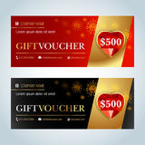 Gift Voucher, Gift certificate, Coupon template. Red and beige color versions. Vector illustration. stock illustration