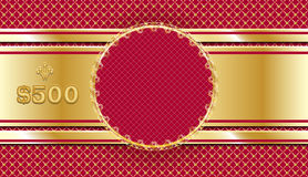 Gift voucher in gold and red. Template Design ornate coupon or certificate. Sample invitation card or check. Stock Photo