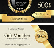 Gift Voucher. Gold Ribbon and Badge on an Elegant Background. Royalty Free Stock Photo