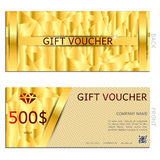 Gift voucher gold vector illustration coupon Stock Photography