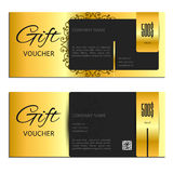 Gift voucher gold vector illustration coupon Stock Images