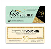 Gift voucher. With golden glitter elements Royalty Free Stock Photos