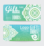 Gift voucher with line Thai design Stock Photo