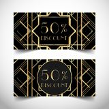 Gift voucher in luxury Art deco style. Vector discount card. Abs. Tract vintage patterns and design elements. Retro geometric background set in 1920\'s style Stock Images